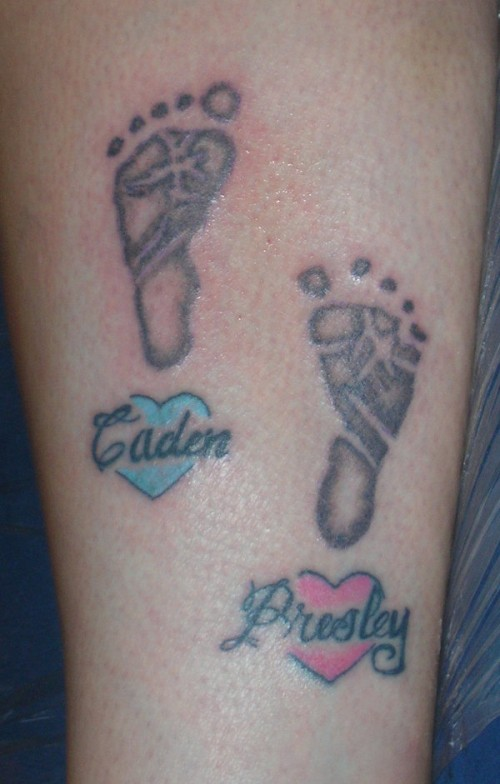 Baby Footprints Tattoos on Leg