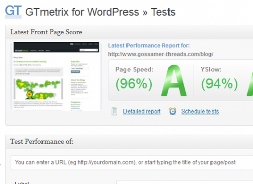 GTmetrix for WordPress