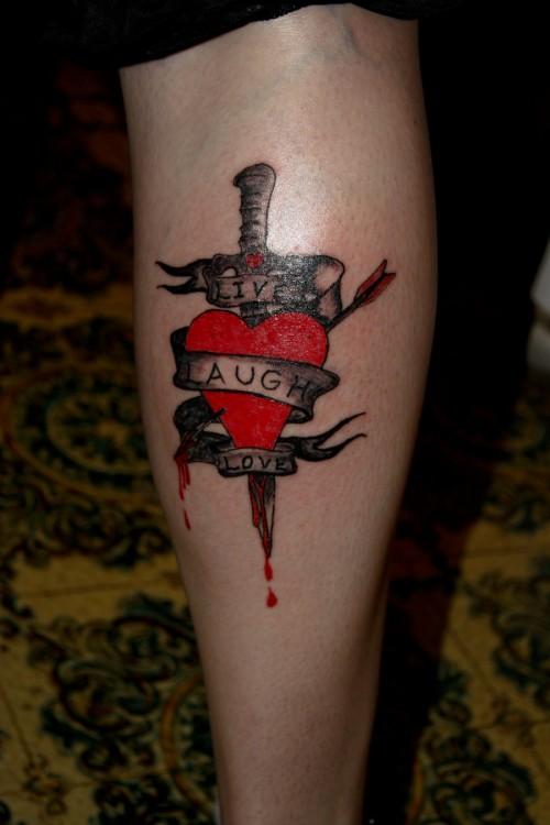 Live, Laugh, Love Leg Tattoo Ideas