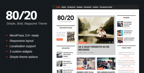 80/20 - WordPress Magazine Theme