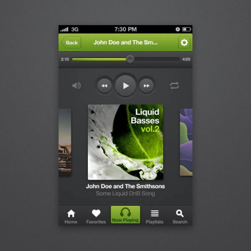 Design an iPhone Music Player App Interface