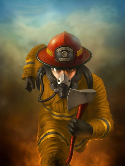 Create a Heroic Firefighter Painting