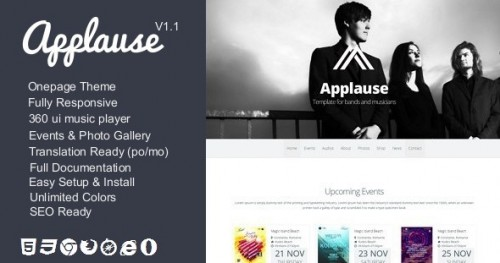 Applause -One-Page Music & DJ Theme