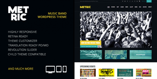 Metric: Music Band Responsive WP Theme