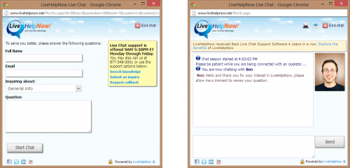 LiveHelpNow Help Desk - Chat Button