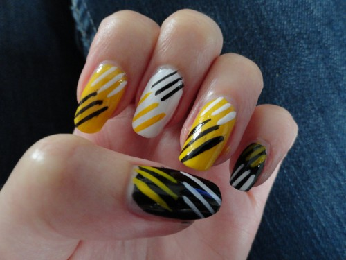 Happy New Year Black and Yellow Nail Designs 2015 - WPJournals