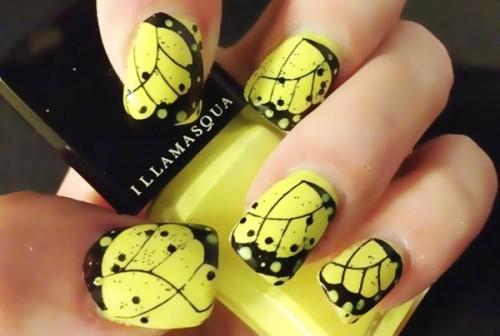 Black Butterfly Wings Yellow Nail Art 2015