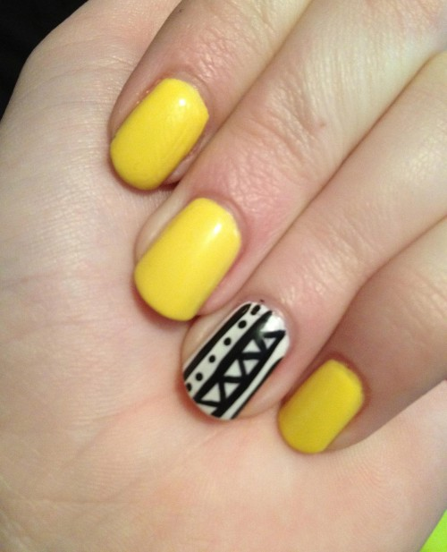 Happy New Year Black And Yellow Nail Designs 2015