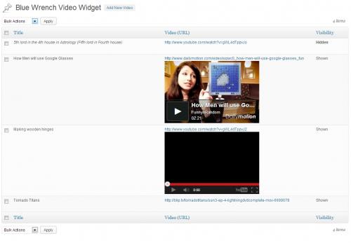 Blue Wrench Video Widget