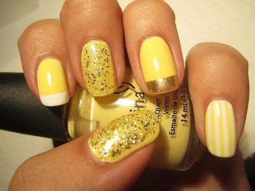 Yellow and Gold Nail Design for New Year