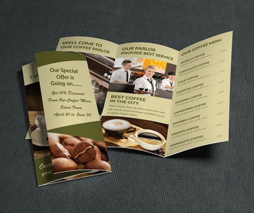 Coffee Parlor Tri Fold Brochure Design